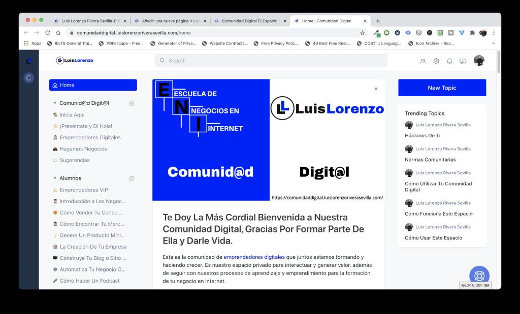 Comunidad Digital - Luis Lorenzo Rivera Sevilla - Escuela De Negocios En Internet - Emprendedores Digitales - Grupo Privado